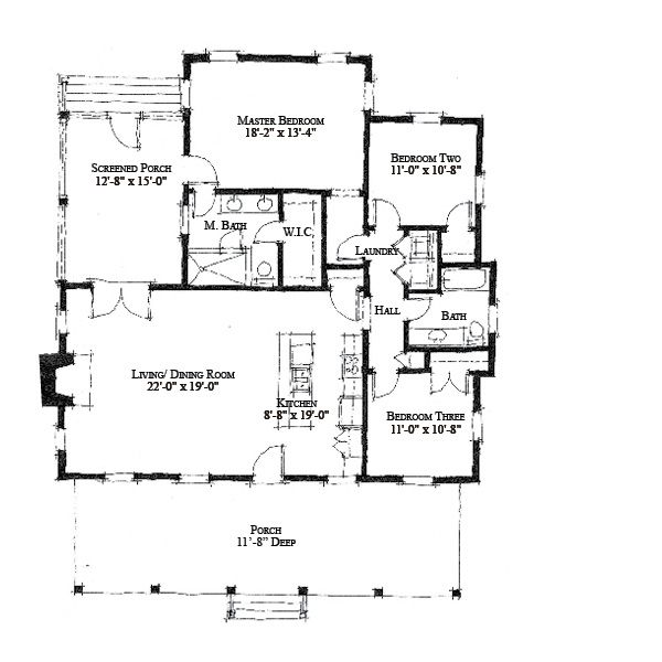 allison ramsey architects | floorplan for river camp - 1534 sqaure