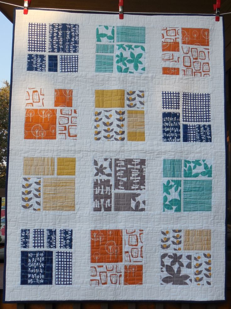 """This is Ginger's Geometrics!  Beautiful colors and modern design!  I love it!  See this quilt and other Rockin' G originals in our Etsy store """"dawnandgingersew""""."""