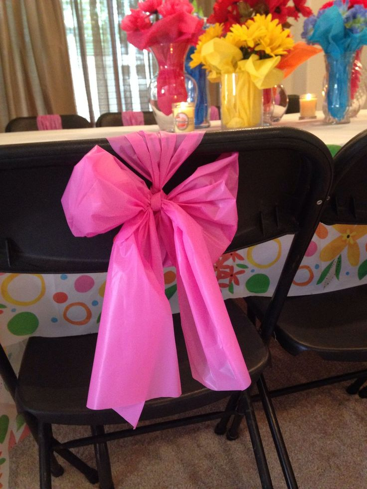 Chair bows, made 16 out of one plastic tablecloth