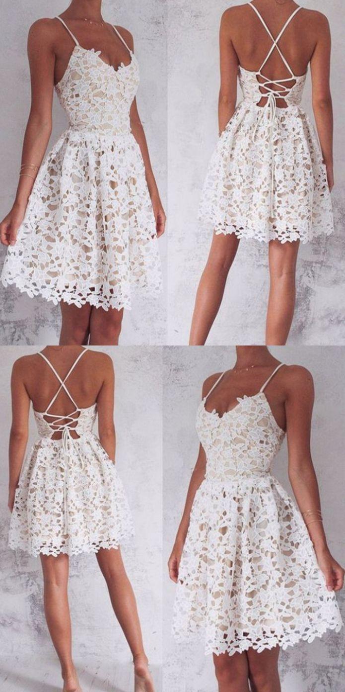e87f95b90ece Short Mini Homecoming Dresses, Ivory Mini Prom Dresses, Mini Short Prom  Dresses, Cute Lace Ivory Short Spaghetti Straps Homecoming/Prom Dresses  Dress, ...