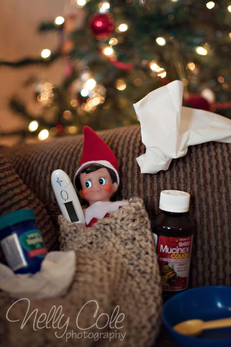 Elf on a Shelf - Feeling a little under the weather from going back & forth to the North Pole