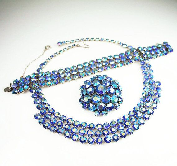 Peacock Watermelon Rhinestone Necklace Bracelet by zephyrvintage