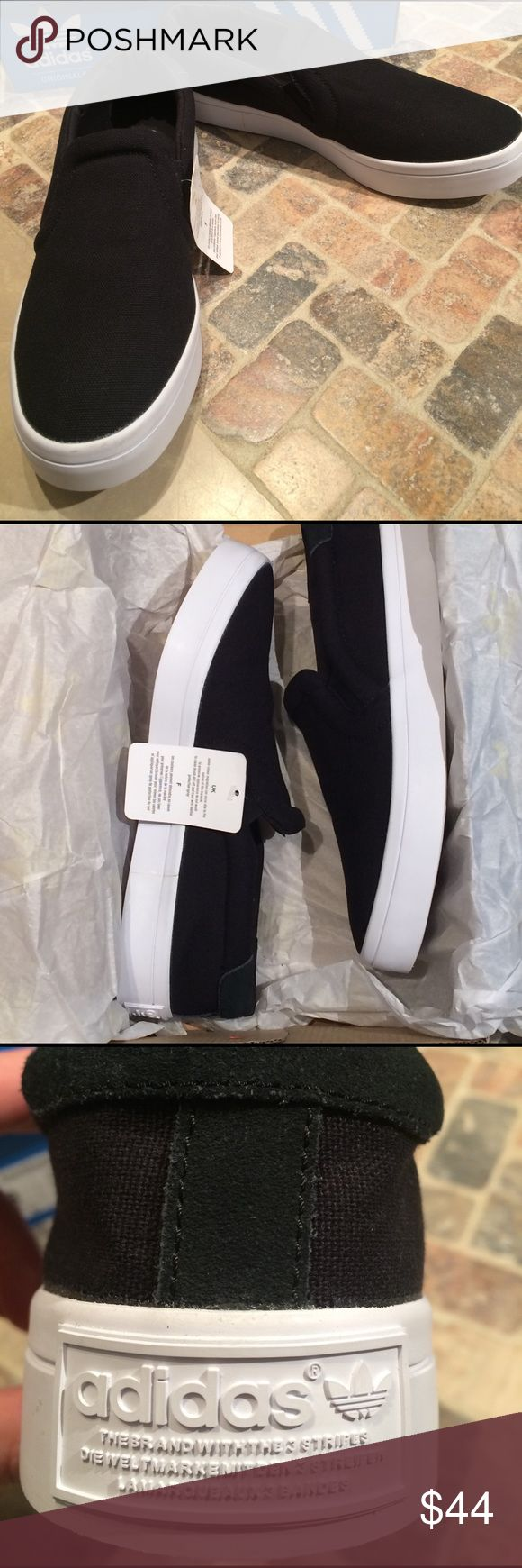 Adidas casual slip-on sneaks women 8&9 available New with box, women's Courtvantage slip on by adidas originals. Black canvas uppers, & white bottoms. Adidas Shoes Sneakers