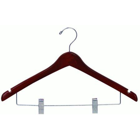 International Hanger Wooden Curved Combo Hanger, Walnut Finish with Chrome Hardware, Box of 100