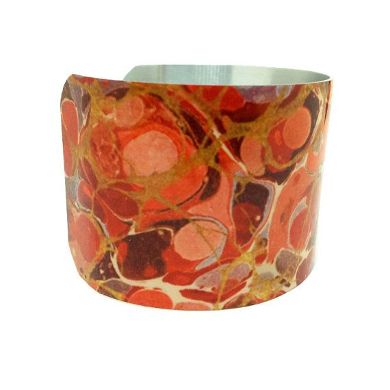 Find JDzigner at http://www.jdzigner.com !!! Paper Marbling - Aluminum Cuff Bracelet - Bold Jewelry - French Art Jewellery - Antique Cuff - Paint Splatter Jewellery - Painted Bangle