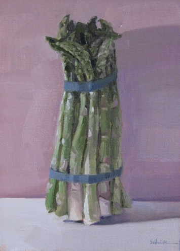 "Asparagus on Pink - 5x7"" oil on panel`, painting by artist Sarah Sedwick"