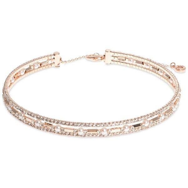 Anne Klein Rose Gold-Tone Three Row Crystal Choker Necklace ($29) ❤ liked on Polyvore featuring jewelry, necklaces, rose gold, rose gold tone necklace, anne klein, crystal jewellery, crystal stone jewelry and choker jewelry