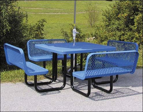 Square Commercial Grade Picnic Table With Attached Bench Seats