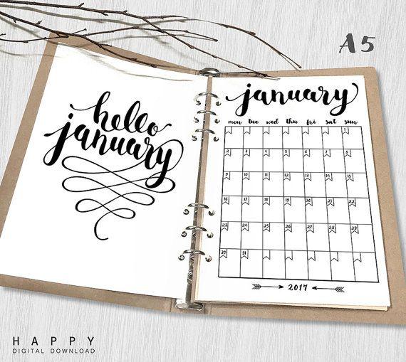 Printable 2017 Monthly Planner Hello 2017 by HappyDigitalDownload