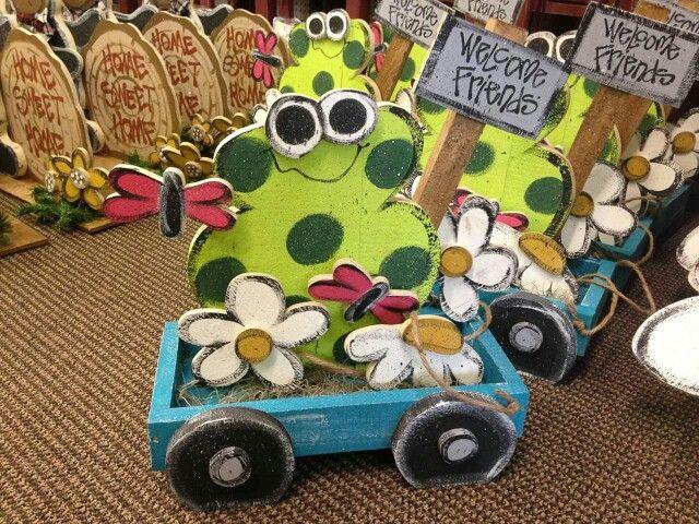 Spring wood craft. Frog wood craft