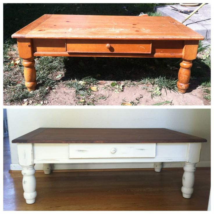 Before and After farm house-style coffee table
