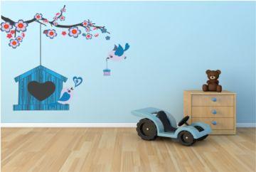 Muursticker Kinderkamer Vogelhuisje met vogels en tak blauw