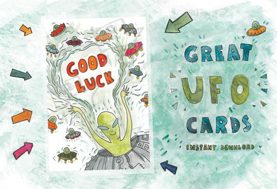 Good Luck card // Original card with UFO  // Instant by PlankArt