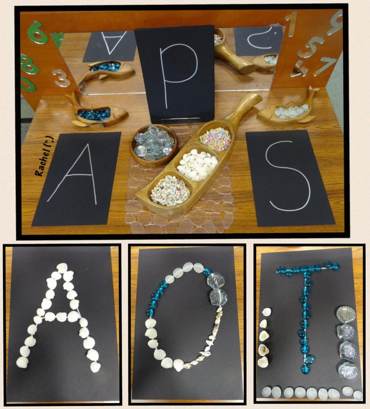 """Tracing initial letters from our names with beach-inspired loose parts - from Rachel ("""",)"""
