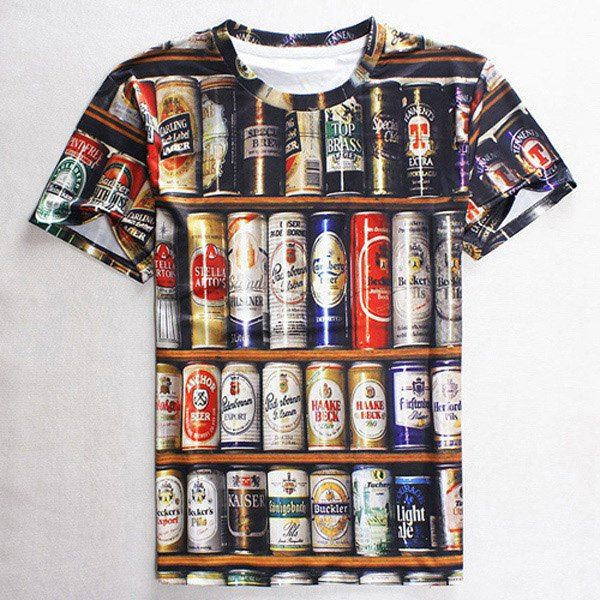 $9.79 Round Neck 3D Beer Print Slimming Short Sleeve Men's T-Shirt