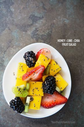 Honey Lime Chia Fruit Salad #recipe via FoodforMyFamily.com @Shaina Olmanson | Food for My Family