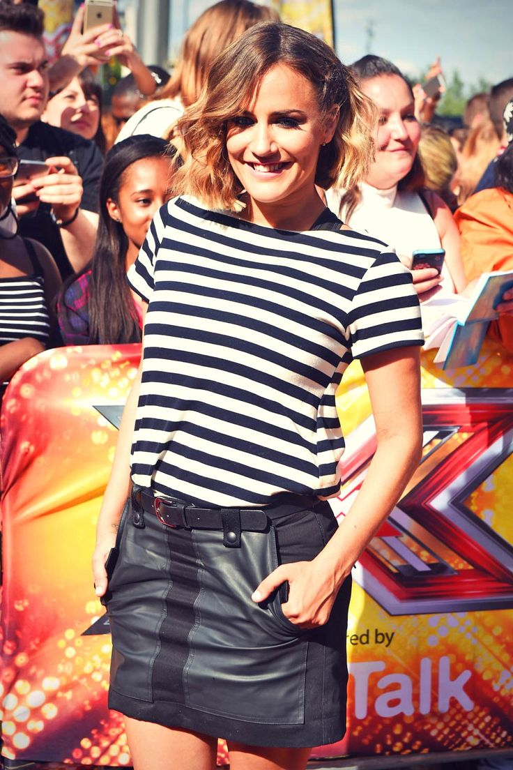 Olly murs black t shirt x factor - Caroline Flack Wears A Short Black Leather Skirt At The X Factor Auditions At Wembley