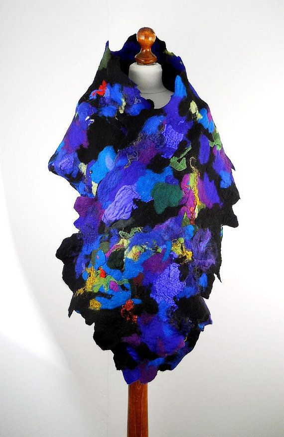 Large Felted Scarf  Long Wrap Scarves Felt Nunofelt by filcant, $169.00