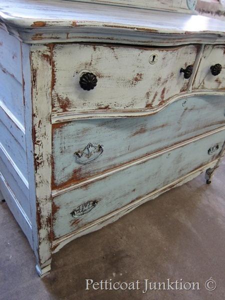 painted furniture, aqua blue distressed
