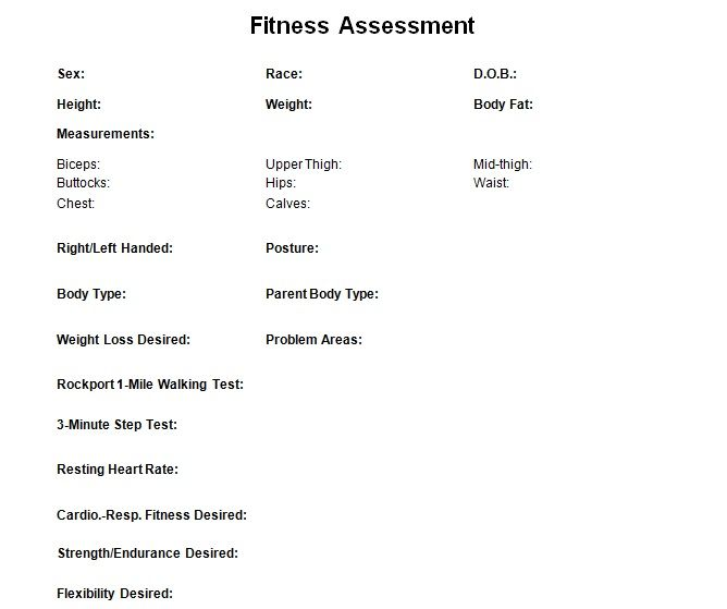 Fitness assessment check list for personal trainers to record your clients results.