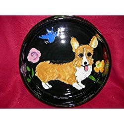 "Pembroke Welsh Corgi 10"" Ceramic Dog Bowl for Food or Water. Personalized at no Charge. Signed by Artist, Debby Carman."