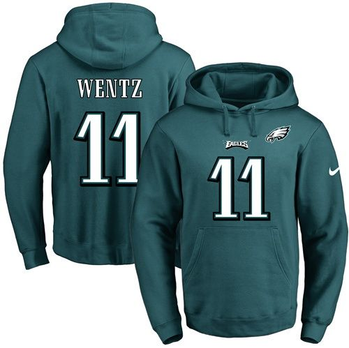 NFL Mens Nike Philadelphia Eagles #11 Carson Wentz Green Name & Number  Pullover Hoodie