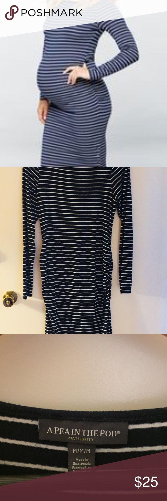 A Pea in the pod Ruched jersey maternity dress Ruched Navy and white stripe maternity dress with side slit with metal button. Normal signs of wear. Super flattering and comfy for the expecting mamas. A Pea in the Pod Dresses Midi