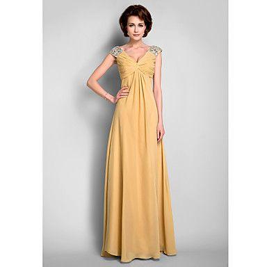 Una línea de V-cuello palabra de longitud gasa madre del vestido de la novia – USD $ 127.39