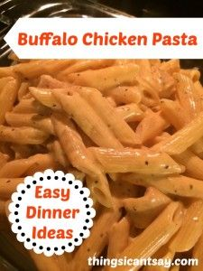 Buffalo chicken pasta. Easy dinner ideas. I'd sub with tofu or non chicken chicken to make it veg friendly.