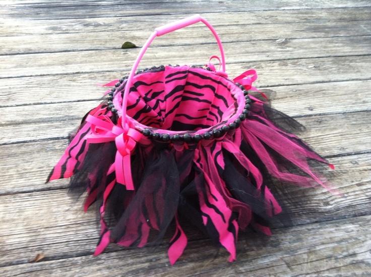 Black and Pink Zebra tutu Easter basket.
