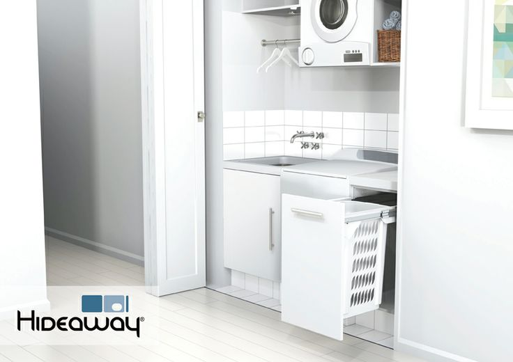 A single Hideaway Laundry Hamper is ideal for laundry storage in an apartment or small family home. Include a 60L Hideaway Laundry Hamper in your laundry design to keep washing off the floor and out of sight.