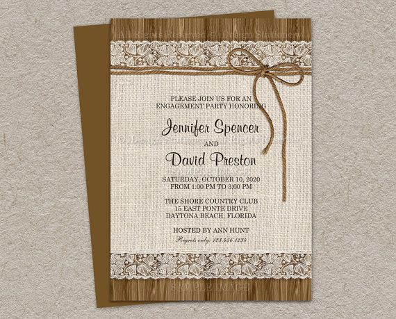 Rustic Engagement Invitation  Burlap by iDesignStationery on Etsy, $14.95
