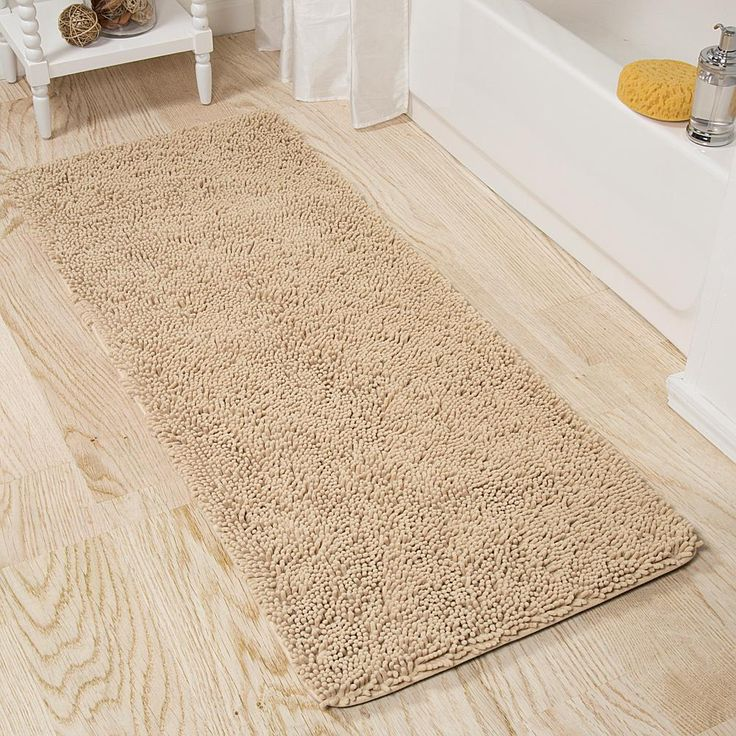 "Trademark Global Lavish Home Memory Foam Shag Bath Mat - 24"" x 60"" -"