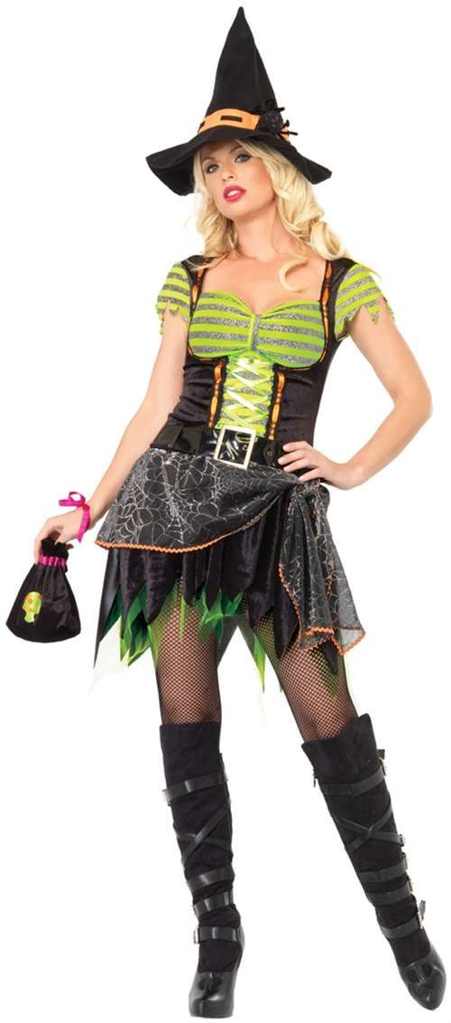 spider web witch costume includes dress with lurex striped top and spiderweb sheer waist scarf belt and matching hat with spider - Spider Witch Halloween Costume