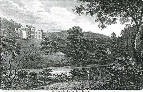 WILLERSLEY CASTLE Seat of Richard Arkwright Esq. Derbyshire  Engraved by W. B. G. Cooke from a drawing by H. Moore
