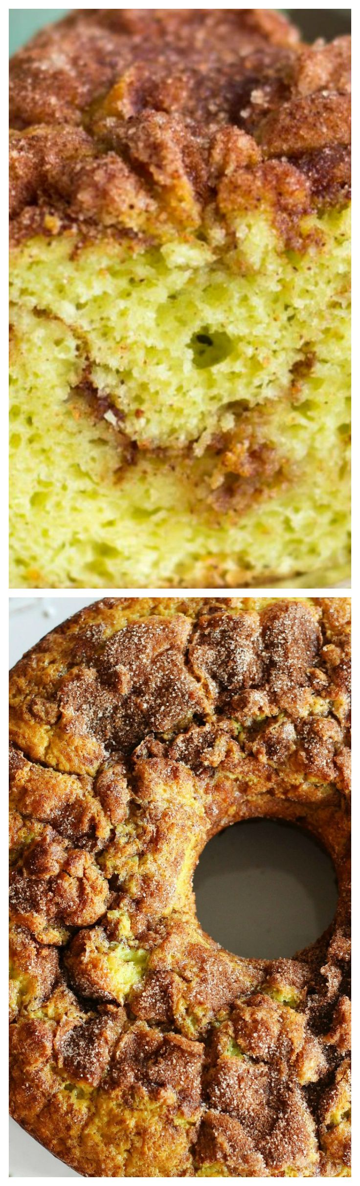 Grandma's Pistachio Bread ~ This super moist bread is made with one bowl, no mixer required, and is sooo easy... It's made with pistachio pudding mix, yellow cake mix, and ribbons of cinnamon-sugar for an ultra delicious bread or coffee cake!