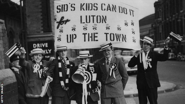 Luton Town fans in 1959 prior to the F.A. Cup final of 1959