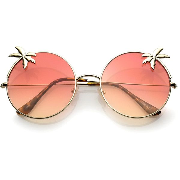 Indie round palm tree gradient lens sunglasses a528 ($17) ❤ liked on Polyvore featuring accessories, eyewear, sunglasses, glasses, lentes, round glasses, round metal glasses, oversized sunglasses, round frame glasses and oversized round sunglasses