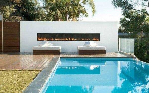 101 Bilder von Pool im Garten - pool house outdoor feuerstelle helle atmosphäre