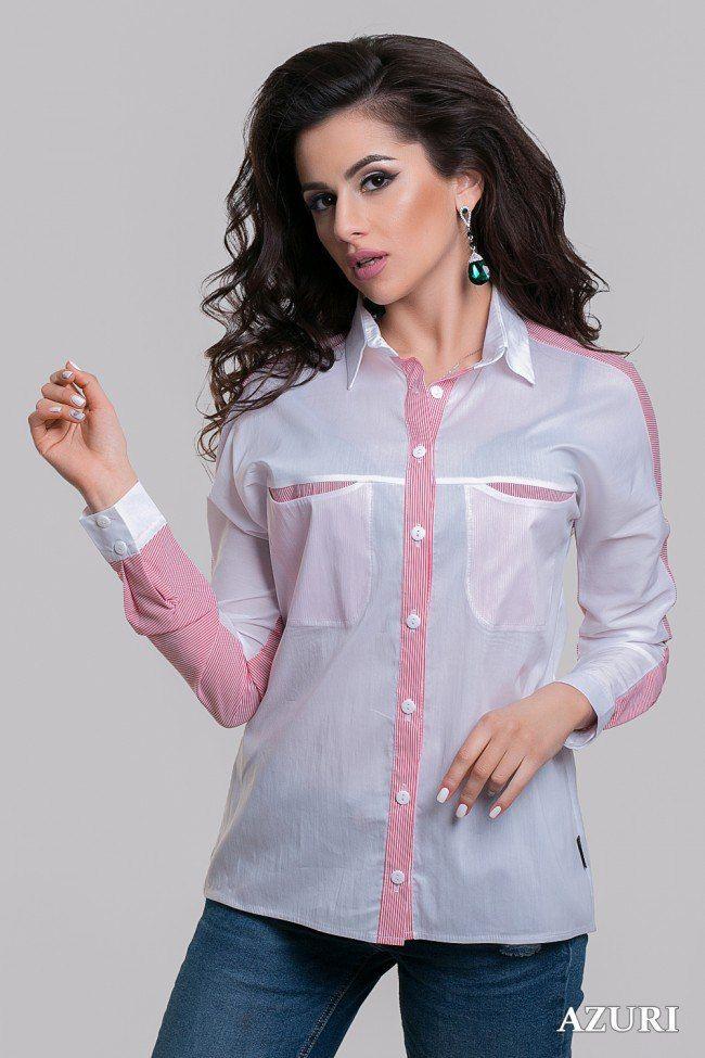 Блузка с полосатыми вставками Blouse with striped inserts