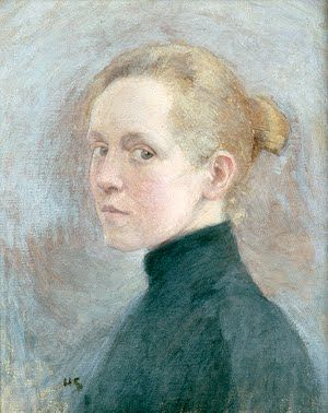 Helene Schjerfbeck (1862-1946) Self Portrait 1885  ~  Helene Schjerfbeck was a Finnish painter.  She is most widely known for her realist works and self-portraits, and less well known for her landscapes and still lifes. Throughout her long life, her work changed dramatically.