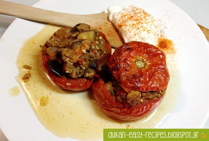 dukan-easy-recipes: Dukan tomatoes stuffed with veal and eggplant - Dukan γεμιστές ντομάτες με μοσχάρι και μελιτζάνα