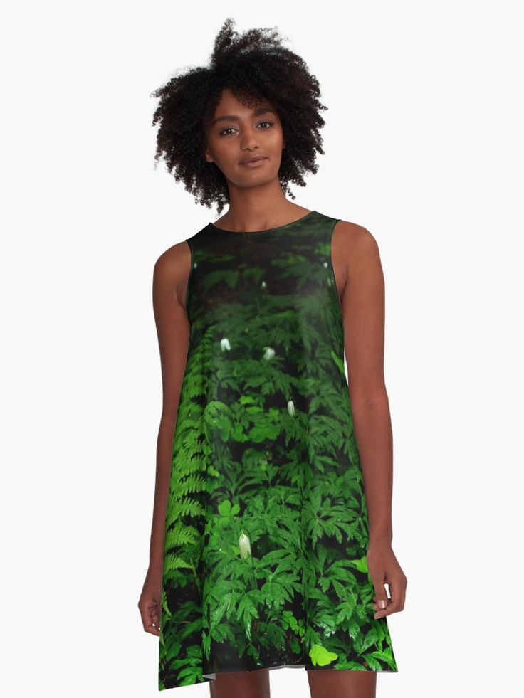 In The Forest Dress by Anastasia Shemetova #wood #forest #heart #landscape #green #soil #deep #photo #photography #faerieshop #mystic #mystical #beautiful #plants #clover #fern #bell #white #night #dark #mysterious #jungle #tropical #redbubble #women #clothes #apparel
