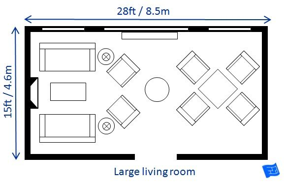 A list of small medium and large living room size for Large living room design layout