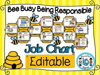 Classroom Job Chart and Classroom labels (Bee + OWL Theme)