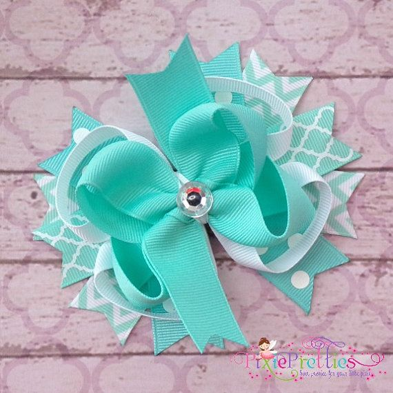 Aqua Stacked Boutique Hair Bow on Etsy, $9.99