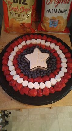 Captain America tray for Lincoln's first birthday! superhero theme