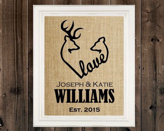 Browning Deer Heart Sign Wedding Gift Housewarming Gift Buck Art Doe Hunter Camo Decor Personalized Deer Hunting Deer Wall Art Burlap Custom