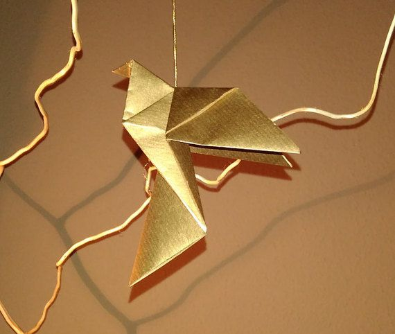 Gold dove for christmas tree Christmas dove by Handmadegiftbox