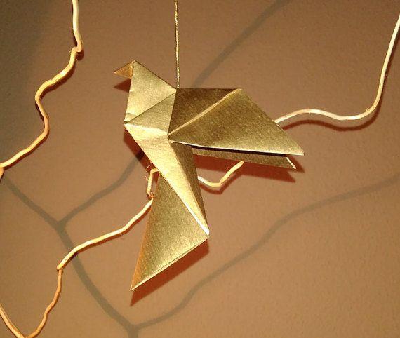 Gold dove for christmas tree Christmas dove by Handmadegiftbox